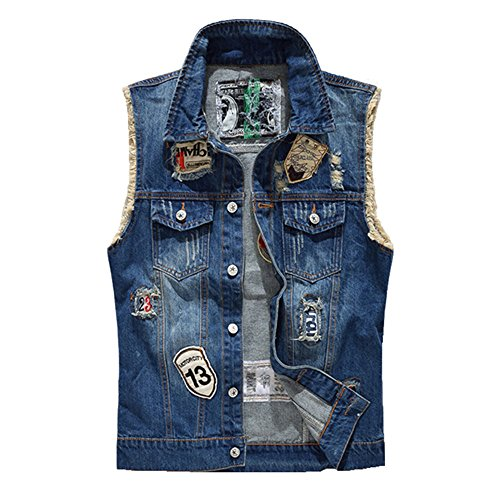 - ZOOB MILEY Men's Denim Vest Sleeveless Jacket Patch Designs Ripped Jeans Waistcoat Blue Tag M