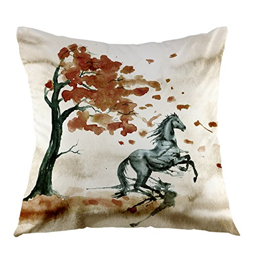 oFloral Horse Throw Pillow Cover Tree Square Cushion Covers Autumn Landscape Pillow Case for Couch Sofa Home Bedroom Living Room 18 x 18 Inch (Horse Couch Pillows)