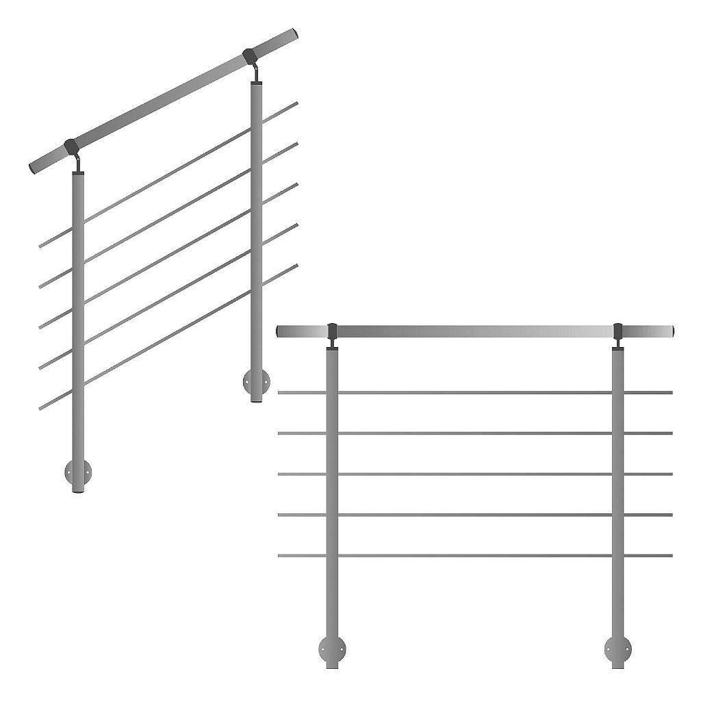 Gel/änder f/ür seitliche Montage an Treppen Balkone und Terrassen mit waagerechten Streben 200 cm mit 3 Pfosten und 5 Querstreben 50mm