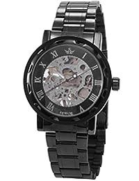 AMPM24 Classic Transparent Men Black Dial Skeleton Mechanical Gunmetal Steel Wrist Watch PMW236