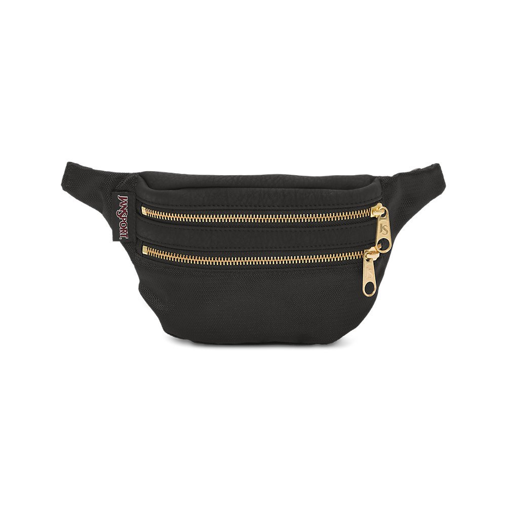 JanSport Hippyland Fanny Pack - Black/Gold - Adjustable Belt