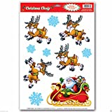 Window Christmas Party 1 Sheet Decoration Clings Cling Santa & Reindeer, Santa Snowman Snowflake Vinyl And Sticker Decal Decor