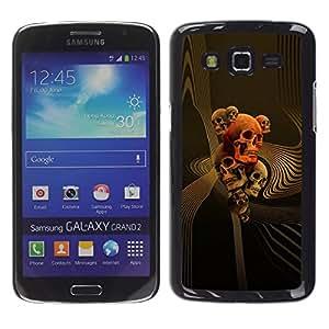Shell-Star Arte & diseño plástico duro Fundas Cover Cubre Hard Case Cover para Samsung Galaxy Grand 2 II / SM-G7102 / SM-G7105 ( Gold Orange Music Death Bones Rock )