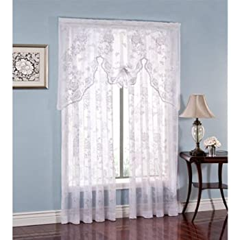 Amazon Com Abbey Rose Floral Lace Curtain White Swag
