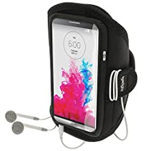 iGadgitz Water Resistant Black Sports Jogging Gym Armband for LG G3 D855