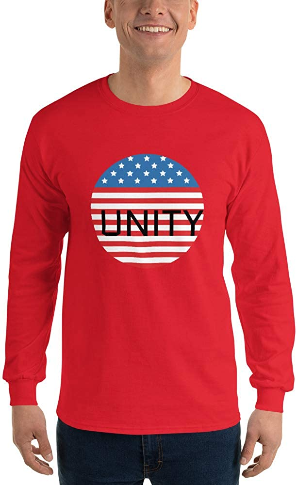 United States Flag Unity Political Patriotic Men/'s Long Sleeve Shirt Red