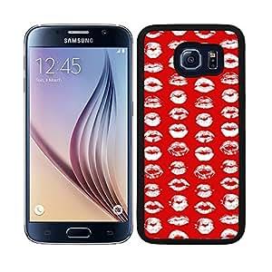 Funda carcasa TPU (Gel) para Samsung Galaxy S6 diseño estampado labios blanco fondo rojo borde negro