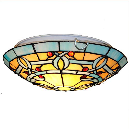 12-Inch Tiffany Style Ceiling Lamp,Retro Stained Gem Glass Flush Mount Ceiling Light for Dining Room Garden Office Clothing Store Coffee Shop Restauranthotel Bar Ceiling Light E27/E26 (Bulbs Not Inclu