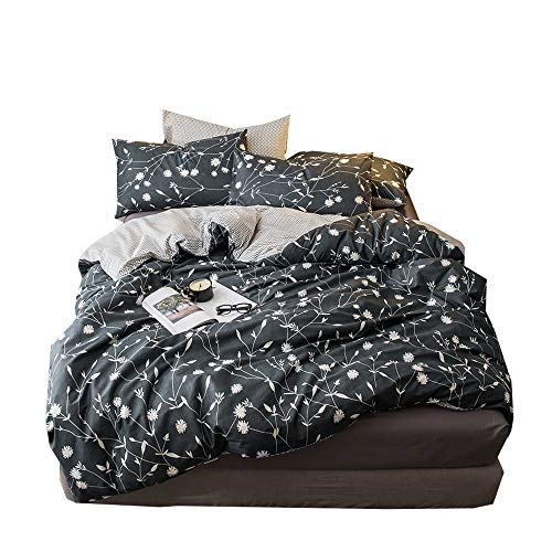 - VClife Leaf Printed Bedding Sets Checkered Pattern Duvet Cover Sets Kid Boy Girl Botanical Country Garden Style Comforter Cover Sets Breathable Lightweight Gray Bedding Collections for All Season