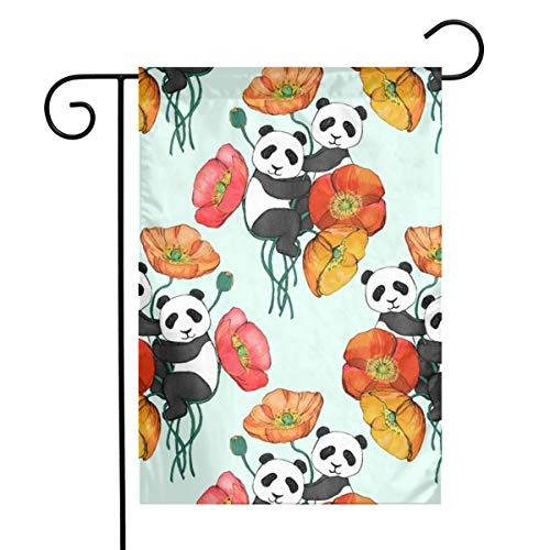 Garden Flag Double Sided 12 X 18 Inches Poppies and Pandas On Mint_393 Holiday Seasonal Flag Wedding Party Yard Home Outdoor Decor
