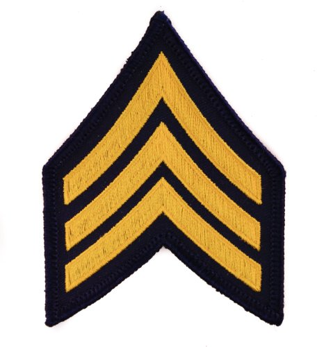 US Army Sgt E-5 Blue and Yellow Sergeant Embroidered Chevron