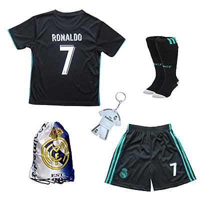 2017/2018 Real Madrid Cristiano Ronaldo #7 Away Black Football Soccer Kids Jersey & Short & Sock & Soccer Bag Youth Sizes