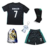 2016/2017 Real Madrid Cristiano Ronaldo #7 Away Purple Football Soccer Kids Jersey & Short & Sock & Soccer Bag Youth Sizes (13-14 YEARS)