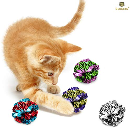 SunGrow Mylar Crinkle Balls for Cats, 1.5-2 Inches, Shiny and Stress Buster Toy, Lightweight and Suitable for Multiple Cats' Play, 12-Pieces