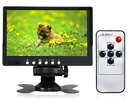 Sun shade car montior 7″ TFT LCD Color 2 Video Input Car RearView Headrest Monitor DVD VCR Monitor With Remote and Stand & Support Rotating The Screen
