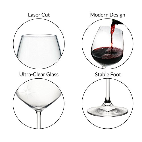 Bormioli Rocco 18oz Red Wine Glasses (Set Of 4): Crystal Clear Star Glass, Laser Cut Rim For Wine Tasting, Lead-Free Cups, Elegant Party Drinking Glassware, Dishwasher Safe, Restaurant Quality by Bormioli Rocco (Image #1)