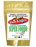 Virgin Extracts (TM) Pure Premium Freeze Dried Organic Acai Berry Powder 4:1 Extract Concentrate 8oz Pouch (4 x Stronger) Acai Powder