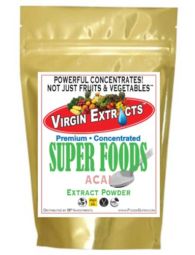 - Virgin Extracts (TM) Pure Premium Freeze Dried Organic Acai Berry Powder 4:1 Extract Concentrate Acai Powder (4 x Stronger) 16oz Pouch