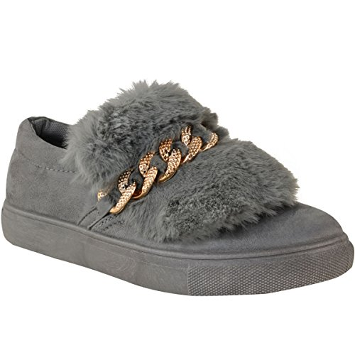 Faux Coloured Fur Faux Suede Slip Womens Fur Shoes Grey Fashion Chain Gold Faux Thirsty On Skater Sneakers qU6ZR