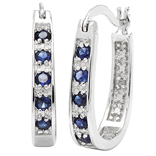 JewelExclusive Sterling Silver Round-Cut Diamond Accent (J-K Color, I2-I3 Clarity) Lab Created Blue Sapphire Hoop Earring ()