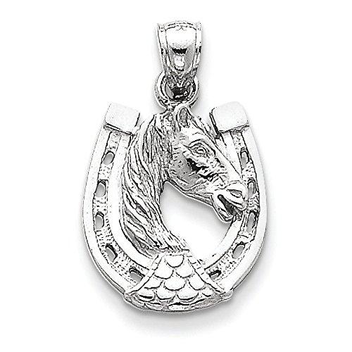Or blanc 14 carats tête de cheval dans fer à cheval-Dimensions :  24,6 x 15,5 mm JewelryWeb -