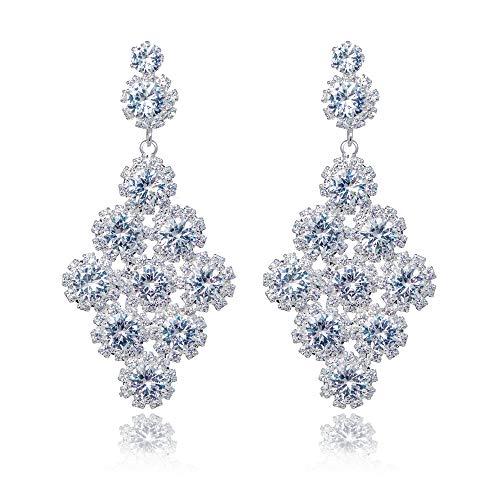 IDesign CZ Drop Dangle Earrings Cubic Zirconia Sunflower Earrings Big Statement Chandelier Fashion Hand Hanging Bridal Handmade Elegant Charming Dangle Earrings Jewelry for Women (Flower Silver)