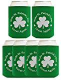 Funny St Patricks Day Accessories Make St Patrick's Day Great Again 6 Pack Can Coolie Drink Coolers Coolies Green