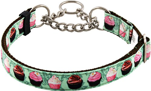 Check Grosgrain (Country Brook DesignLime Cupcakes Half Check Grosgrain Ribbon Dog Collar - Large)