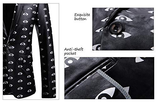 Cuir Floral Costume Noir Veste Blanc Blazer Santimon Casual Bouton Slim Fit Hommes ax0nqwE1