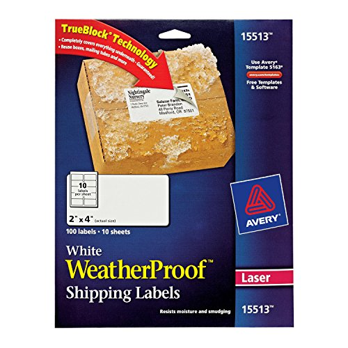 Avery WeatherProof Mailing Labels with TrueBlock Technology for Laser Printers 2' x 4', Pack of 100 (15513)