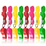The Twiddlers 60 Pcs Bulk Plastic Whistles w/ Nylon Braided Cord Lanyards - Assorted Neon Color - Kids Birthday Party   Goodie Bag Fillers   Lucky Dip Favors   Football, Basketball and Other Sports