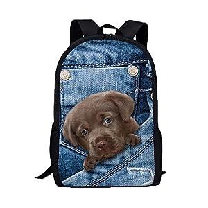 BCDshop Denim Backpack Men Women School College Travel Satchel Bags Cute 3D Puppy Print Rucksack