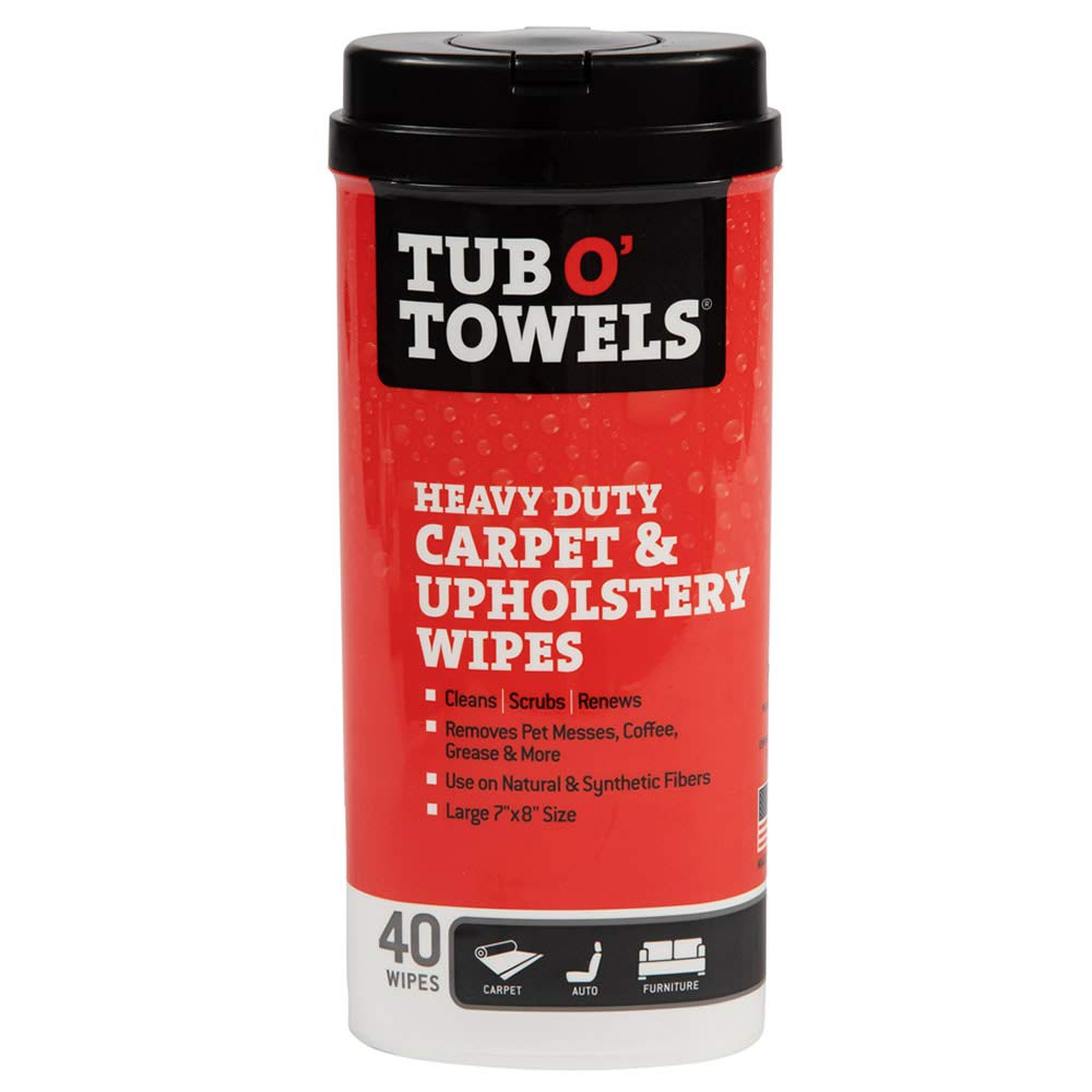 Tub O' Towels Carpet and Upholstery Spot Remover Cleaning Wipes - Clean, Scrub, Remove, 40 Count Wipes