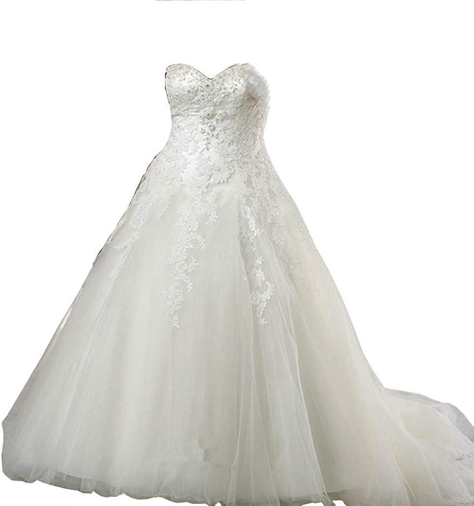 Dreamdress Womens Sheer Plus Size Wedding Dress Tulle Bridal Gown