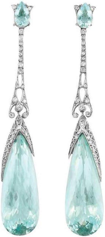 Erin Earring Moda Coreana Largo Azul Gota De Agua Pendientes De Piedra Colgante Femenino De Cristal De Plata Regalo De La Joyería del Oído Z5T042