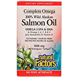 Natural Factors - Complete Omega 100% Wild Alaskan Salmon Oil 1300mg, Rich in Omega-3 Fatty Acids, 180 Soft Gels