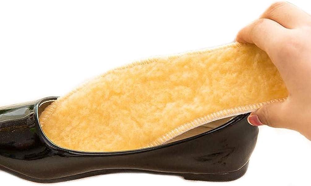 Knixmax Semelles en feutre de laine Semelles de chaussures chaudes minces pour enfants Femmes Hommes