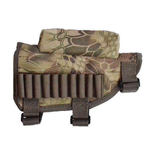 (KIKIGOAL Rifle Buttstock, Hunting Shooting Tactical Cheek Rest Pad Ammo Pouch with 10 Shells Holder (Camo))