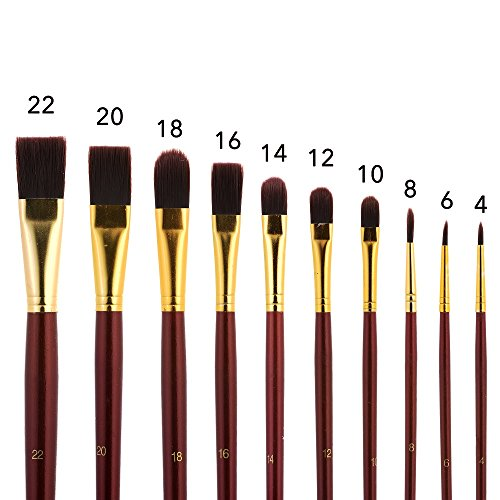 Long Handle Paint Brush Set 10 Professional Artist Grade Acrylic Oil Brushes Round Flat Filbert Tips with Roll Up Canvas Holder