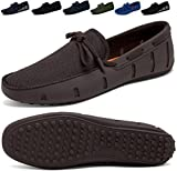Go Tour Men's Fashion Casual Boat Shoes Breathable Slip on Shoes Brown 46
