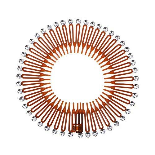 5x Plastic Full Circle Stretch Flexible Hair Comb Teeth Headband Hair Band Clip (Color - Coffee with Rhinestone)
