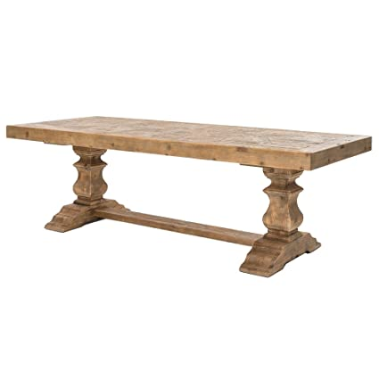 Amazoncom Kathy Kuo Home Ellicott Rustic Lodge Bleached Pine - Bleached wood dining table
