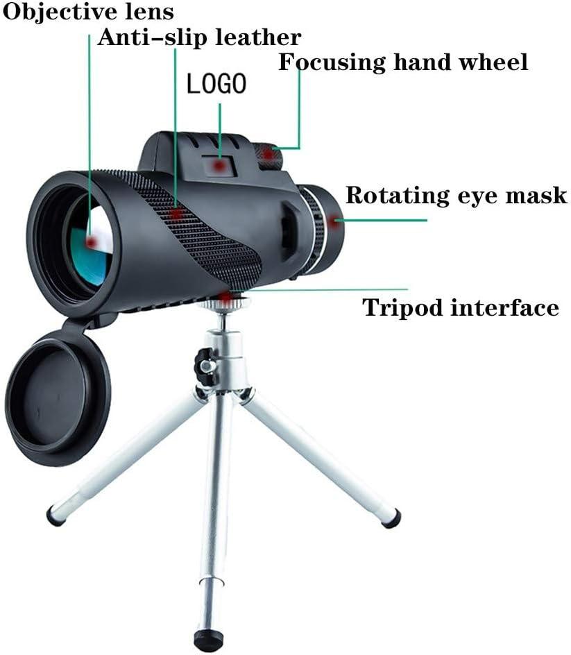 Alcance a Prueba de Golpes Niebla Bak-4 Prism para Observaci/ón de Aves Camping Senderismo con Adaptador de Tel/éfono Inteligente Tr/ípode QYWSJ Telescopio Monocular para Adultos