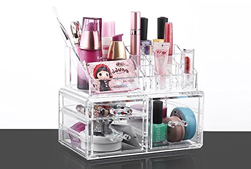 Acrylic Jewelry & Cosmetic Makeup Storage Display Boxes Two Pieces Set | Makeup Organizer Jewelry Watches Display Cube Case | Great for Lipsticks Nail Brushes and Bathroom Accessories | 3 Drawers (Piece 2 Drawers)