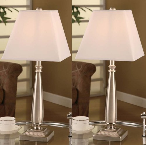 Brushed Nickel Table Lamp With Square White Shades Set Of