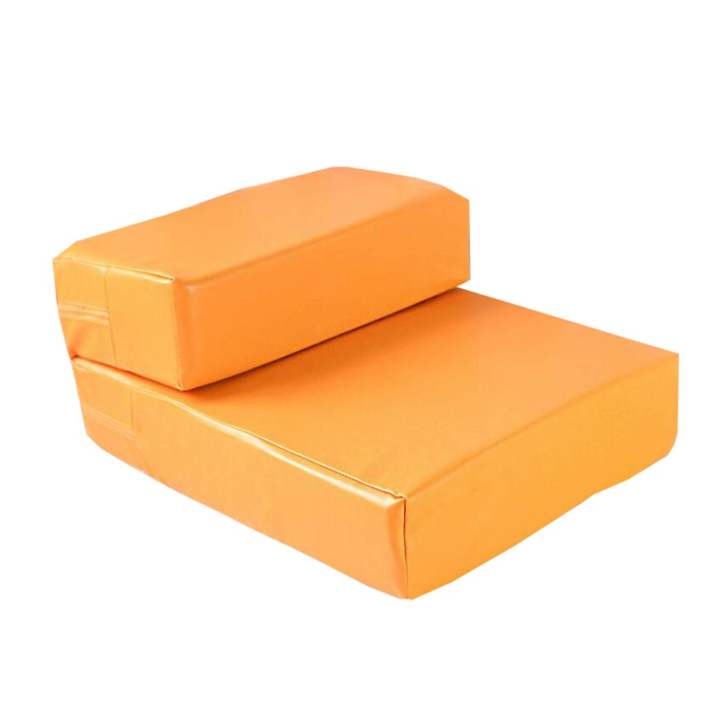 Qz Pet Stairs For Cats And Small Dogs, Sponge PU Pet Step For Bed And Sofa, orange, 39×49×20cm