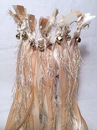 100 wedding wands ivory and toffee send off ribbon streamers with gold frayed ribbon by The Brides Made Shop