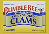 BUMBLE BEE Premium Select Fancy Smoked Clams, High Protein Food, Keto Food and Snacks, Gluten Free Food, High Protein Snacks, Canned Food, 3.75 Ounce Cans (Pack of 12)