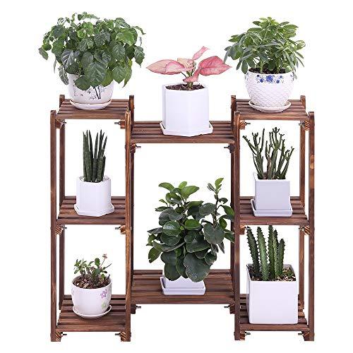 Wood Plant Stands Indoor Outdoor Plant Shelf 8 Tiered Flower Pot Stand Holder Multi Tier Flower Display Rack Shelves for Patio Garden Balcony Yard(29.9 in,Floor Standing)