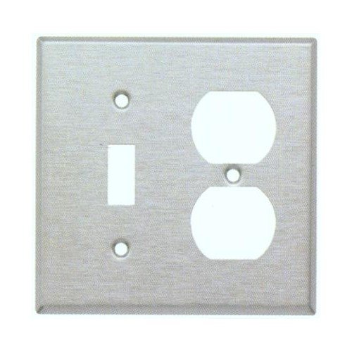 Morris 83859 304 Wall Plate, 2 Gang, 1 Toggle, 1 Duplex, Stainless Steel